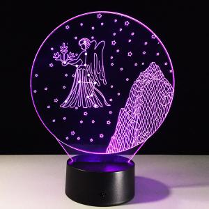 3D Visual 7 Color Changing Virgo Shape Touching LED Night Light -