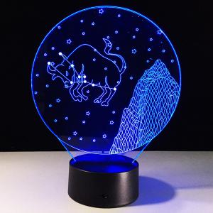3D Visual 7 Color Changing Taurus Shape Touching LED Night Light - COLORFUL