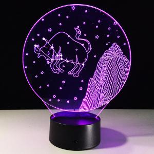 3D Visual 7 Color Changing Taurus Shape Touching LED Night Light