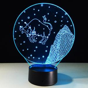 3D Visual 7 Color Changing Taurus Shape Touching LED Night Light -