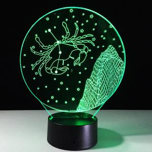 3D Visual 7 Color Changing Cancer Shape Touching LED Night Light - COLORFUL