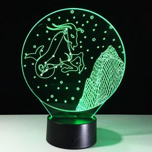 3D Visual 7 Color Change Capricornus Shape Touching LED Night Light - COLORFUL
