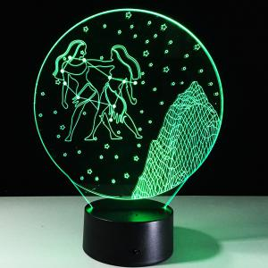 3D Visual 7 Color Change Gemini Shape Touching LED Night Light - COLORFUL
