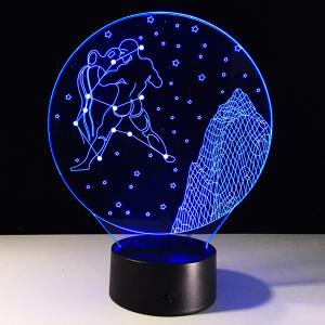 3D Visual 7 Color Change Aquarius Shape Touching LED Night Light - COLORFUL