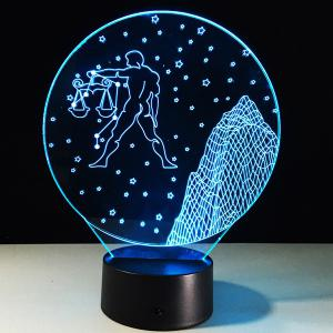 3D Visual 7 Color Change Libra Shape Touching LED Night Light - COLORFUL