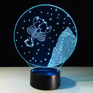 3D Visual 7 Color Change Scorpio Shape Touching LED Night Light -