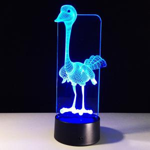 3D Visual 7 Color Change Ostrich Shape Touching LED Night Light