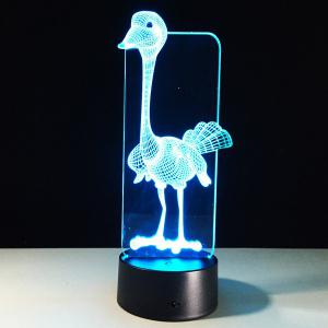 3D Visual 7 Color Change Ostrich Shape Touching LED Night Light - COLORFUL
