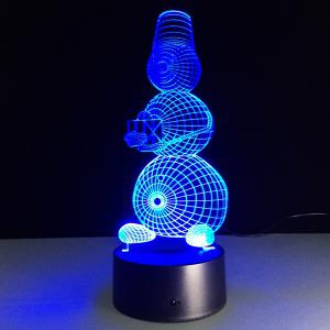 3D Visual 7 Color Change Snowman Shape Touching LED Night Light - COLORFUL