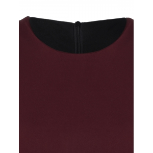 Color Block Knee Length Bodycon Dress - WINE RED XL