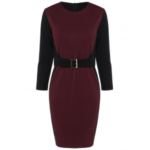 Color Block Knee Length Bodycon Dress