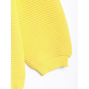 Puff Sleeve Zip Up Knit Cardigan - YELLOW L