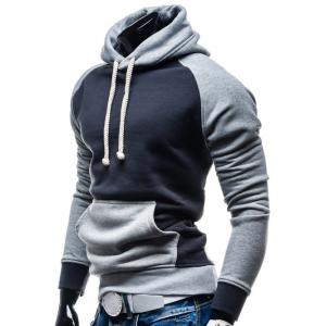Hooded Color Block Splicing Design Drawstring Black and Grey Hoodie