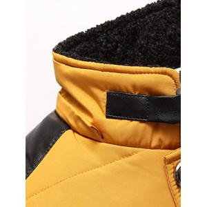 Zippered Detachable Faux Fur Hood Padded Jacket - YELLOW 2XL