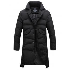 Button Pocket Split High Low Padded Coat