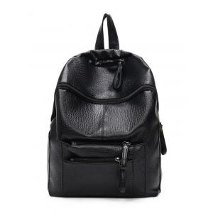 Textured Leather Pockets Zippers Backpack - BLACK