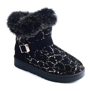 Color Block Belt Buckle Snow Boots - Black And Golden - 38