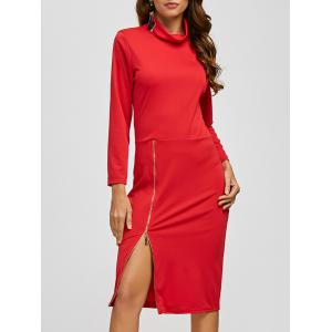 Zippered Turtle Neck Slit Pencil Dress - Red - Xl