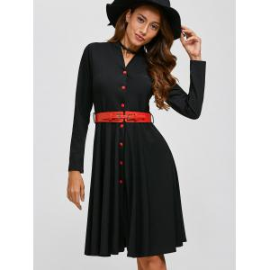 Single-Breasted Belted Dress -