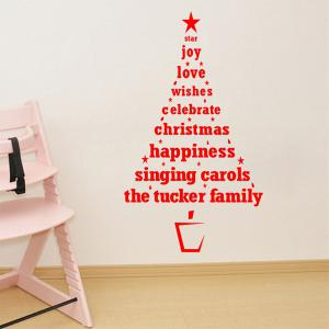 Multicolor Christmas Wishes Tree Glass Window Wall Stickers For Nursery - RED
