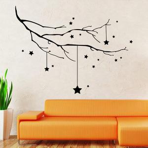 Christmas Stars Branches Removable Glass Window Wall Stickers - BLACK