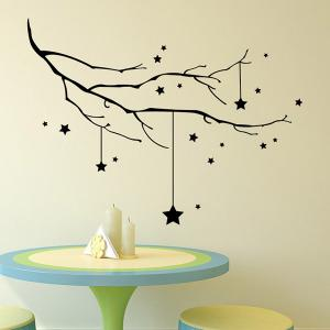Christmas Stars Branches Removable Glass Window Wall Stickers -