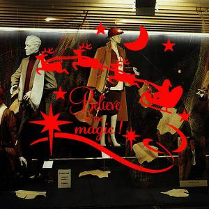 Christmas Believe Magic Removable Glass Window Wall Stickers - Red - W79 Inch * L59 Inch