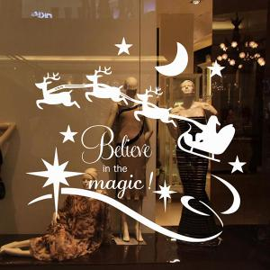 Christmas Believe Magic Removable Glass Window Wall Stickers -