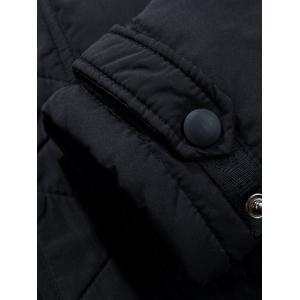 Multi Pockets Quilted Jacket with Detachable Hood - BLACK 3XL