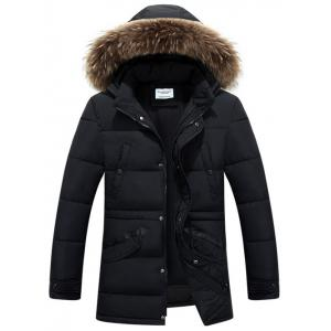 Multi Pockets Quilted Jacket with Detachable Hood - Black - L