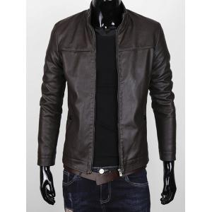 Stand Collar Zipper Up Faux Leather Jacket -