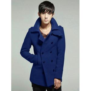 Double Breasted Epaulet Design Wool Blend Coat - Deep Blue - 2xl