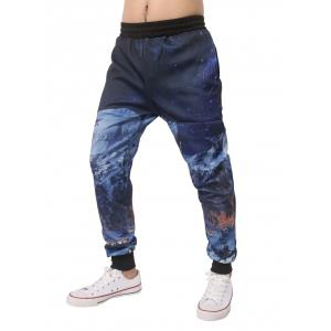 Night Scene Printed Elastic Waist Jogger Pants - DEEP BLUE M