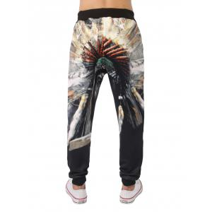 3D Native Printed Elastic Waist Jogger Pants - COLORMIX 2XL