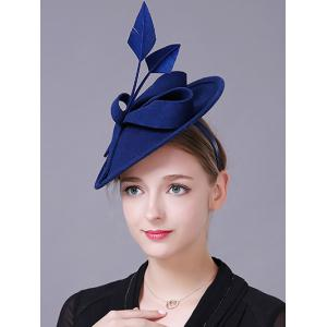 Charming Floral Fancy Feather Wool Cocktail Hat - ROYAL