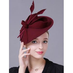 Charming Floral Fancy Feather Wool Cocktail Hat