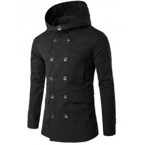 Lapel Collar Double Breasted Hooded Coat - Black - L