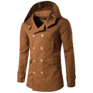 Lapel Collar Double Breasted Hooded Coat - Camel - Xl