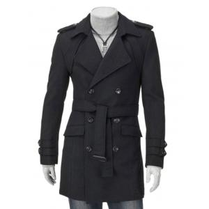 Epaulet Embellished Double Breasted Wool Coat