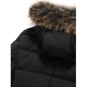 Zippered Faux Fur Hooded Padded Coat - BLACK 3XL
