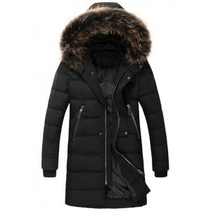 Zippered Faux Fur Hooded Padded Coat - Black - M