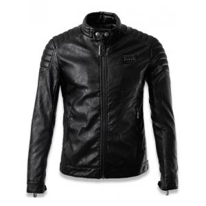 Faux Leather Stand Collar Zip Up Jacket - Black - Xl