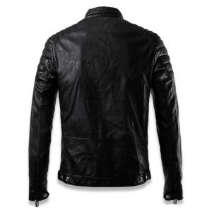 Faux Leather Stand Collar Zip Up Jacket - BLACK XL