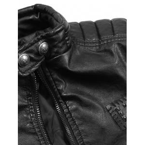 Faux Leather Stand Collar Zip Up Jacket -