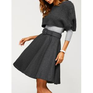 Fitted Sweater With Knitted Crop Top Wool Skirt - Gray - Xl