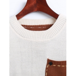 Jewel Neck Pocket Patched Color Block Sweater -
