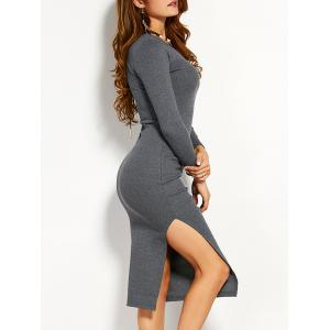 Long Sleeve Slit Midi Fitted Jumper Dress - Gray - L