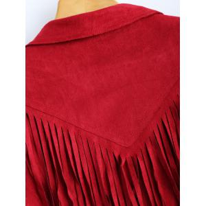 Cropped Tasselled Faux Suede Jacket - RED 2XL