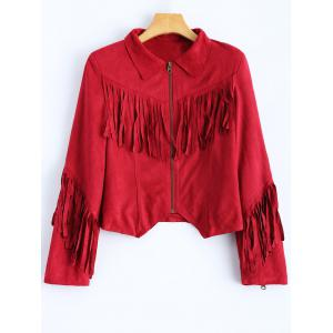 Cropped Tasselled Faux Suede Jacket - Red - 2xl
