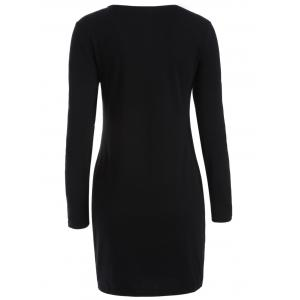 Skinny Bone Pattern Bodycon Dress - BLACK L